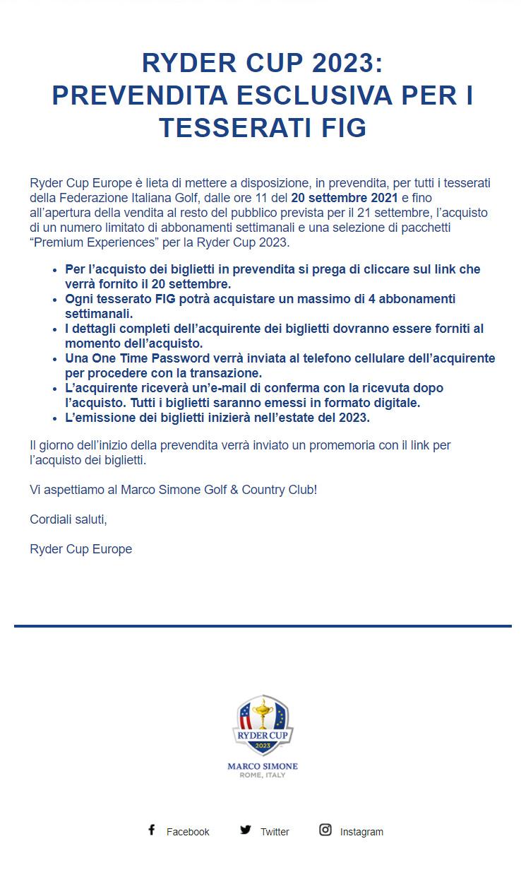 Ryder Cup 2023: Prevendita esclusiva per i tesserati FIG